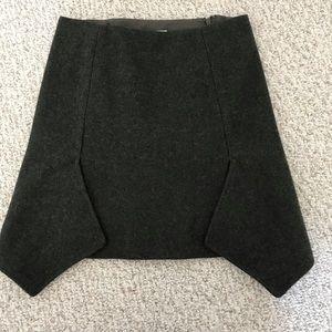 Wool asymmetrical mini skirt